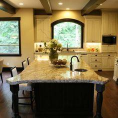 dark trim and cream cabinets
