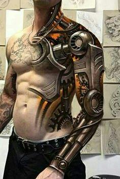 Robot Arm Tattoo Designs - Tattoos Ssg Tattoo and Tatti on Ripped Skin Steampunk Tattoo Ideas Robo Best 3d Tattoos, Dope Tattoos, Best Sleeve Tattoos, Badass Tattoos, Tattoo Sleeve Designs, Trendy Tattoos, Tattoo Designs Men, Body Art Tattoos, Tattoos For Guys