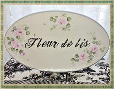 Fleur De Lis Wood Sign Shabby Hand Painted by CelestinaMarieDesign