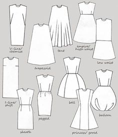 Fashion Design Drawing silhouettes of dresses. I think my favorite is sheath. Never would have known the name without this diagram. Fashion Terminology, Fashion Terms, Trendy Fashion, What Is Fashion, Fashion Vocabulary, Fashion Dictionary, Moda Vintage, Fashion Design Sketches, Dress Silhouette