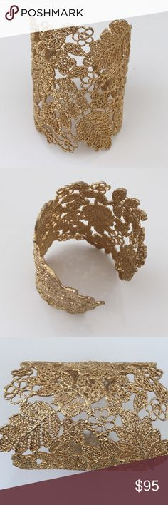 Stella & Dot lace 24k gold plated cuff Perfect Condition. 24k gold plated. AdjustAble cuff with original box. Discontinued Stella & Dot Jewelry Bracelets