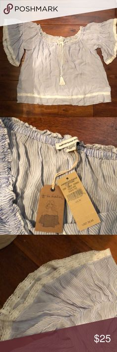 American Eagle Blue Striped Blouse This is an on or off shoulder blue striped blouse purchased from American eagle. Size medium, brand new with tags. American Eagle Outfitters Tops Blouses
