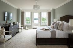 Minnetonka New Construction - by Vivid Interior and Hendel Homes #interiordesign #masterbedroom #bedding #blue #classic #modern