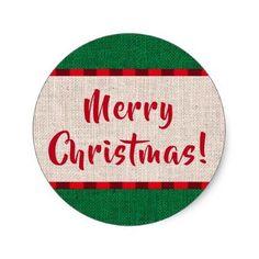 Merry Christmas Burlap Texture Classic Round Sticker - christmas stickers xmas eve custom holiday merry christmas