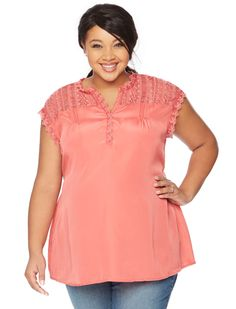 Cute and coral | Plus size cap sleeve babydoll maternity top by Motherhood Maternity