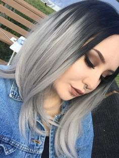 Black to Gray shoulder length Bob Style Lace Front wig Grey Hair Texture, Grey Hair Wig, Ombre Hair Color, Ombre Bob, Black To Grey Ombre Hair, Black And Silver Hair, Short Silver Hair, Silver Ombre Hair, Silk Hair