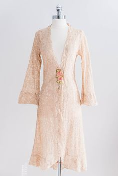 1920s French Peach Lace Robe With Silk Ribbon
