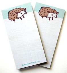 Happy Hedgehog notepad -- plus plenty of room for reminders, notes, messages and bright ideas! 50 pages, illustrated by Susie Ghahremani for shop.boygirlparty.com
