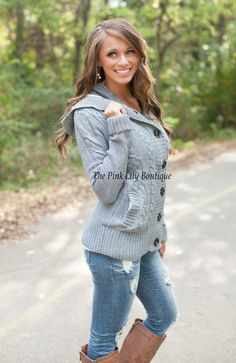 The Pink Lily Boutique - Chill No More Grey Jacket , $45.00 (http://thepinklilyboutique.com/chill-no-more-grey-jacket/)