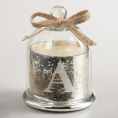 One of my favorite discoveries at WorldMarket.com: Etched 'A' Mercury Glass Filled Candle with Cloche