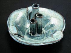 blue stoneware ikebana flower arranging vase