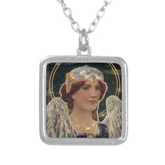 Angel Night Pearl Halo Wings Religious Vintage Necklace