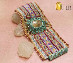 Statement Cuff Bracelet Beaded with Rutilated by OhlalaJewelry