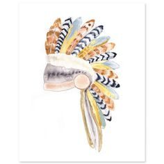 Native American Headdress Print  - gorgeous print for a tribal-inspired nursery.