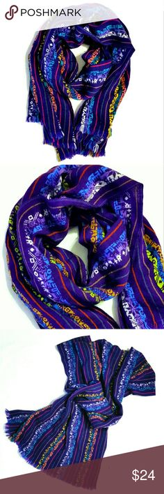 {Vintage Large Purple Wrap Scarf Shawl} Absolutely stunning multicolor scarf. Pattern features pink, yellow, orange, green, white and aqua. Can be worn as a scarf or wrap.  Great condition with just a few loose threads.   32 x 68 inches  15% off bundles. Reasonable offers accepted. Vintage Accessories Scarves & Wraps
