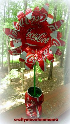 Coca Cola Soda Can Pop Can Flower Fabulous by craftymountainmama, $22.00