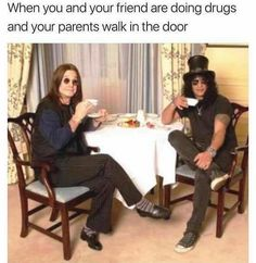 OZZY OSBOURNE AND SLASH - WHEN YOU AND YOUR FRIEND ARE DOING DRUGS AND YOUR PARENTS WALK IN THE DOOR HEAVY METAL T-SHIRTS and METALHEAD COMMUNITY BLOG. The World's No:1 Online Heavy Metal T-Shirt Store & Metal Music Blog. Check out our Metalhead Clothing and Apparel Store, Satanic Fashion and Black Metal T-Shirt Stores; https://heavymetaltshirts.net/