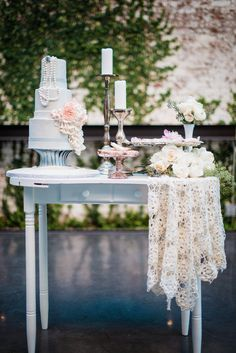 One pretty cake table...Photography by Kate Ignatowski Photography http://www.kateignatowski.com/  Read more - http://www.stylemepretty.com/new-york-weddings/2013/06/07/romantic-wedding-inspiration-at-the-foundry-from-kate-ignatowski-photography/