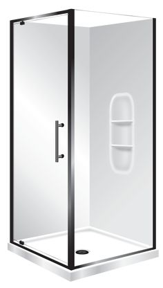 Symphony Aquero 900x900 Black Moulded Wall. Featuring  Low Profile tray with 40mm upstands  1950mm High Glass