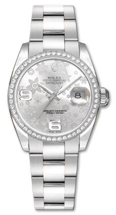 e4ff7c1be71 Rolex Datejust 36 Silver Floral Diamond Watch 116244