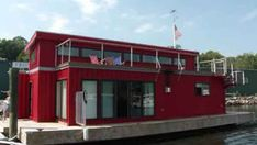 Man turns shipping container into houseboat