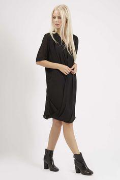 TALL Short Sleeve Drape Dress - Topshop