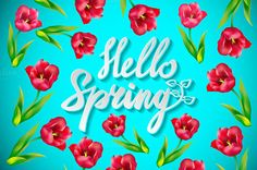 Hello spring  vector floral  by Rommeo79 on @creativework247