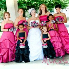 Hot Pink Bridesmaids Dresses and Black Flower Girl Dresses with Flower Bouquets