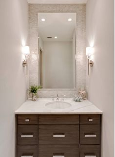 Mother of pearl tile accent in powder bath