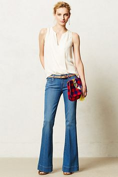 Paige Petite Fiona Flare Jeans #anthropologie I am a big fan of the flare jean.