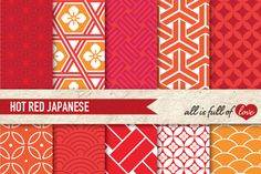 Japanese Background Patterns in Red and Orange :: Graphics with quatrefoil, scales and stars and more. You get 10 High Quality Sheets :: JPG files size 12x12 inches with 300 dpi jpg, for perfect printing or digital use. These have so many uses, they are great for scrapbooking, crafts, party decor, DIY projects, blogs, stationery & more. All patterns are original and copyrighted by All is Full of Love