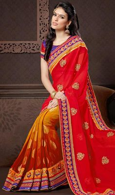 Orange and Salsa Red Banarasi Silk Georgette Half N Half Saree Shine like a star wearing this orange and salsa red Banarasi silk georgette half n half saree. This enticing dress is displaying some brilliant embroidery done with mirror, moti, patch and resham work. Comes with a matching stitched round neck blouse with 6 inches sleeves. #BanarasiSilkGeorgetteSaris #IndianBridalSareeOnline