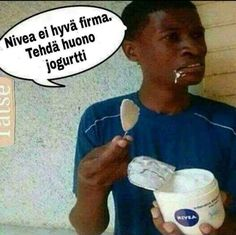 Nivea really doesn& make good yogurt. Round Sunglasses, Mens Sunglasses, Made Goods, Humor, Funny, Yogurt, Random, Funny Memes, 6 Packs