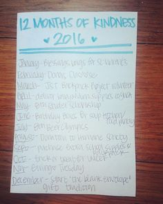 12 Months of Kindness Project ideas.  Family friendly acts of service and kindness