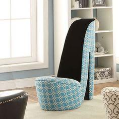 Venessa: High Heel Shoe Chair - Teal Pattern with Black