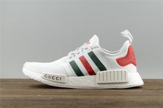 bb9b10c03 Factory Authentic Cheap Adidas Originals NMD X Gucci White blanc Red Green Youth  Big Boys Sneakers