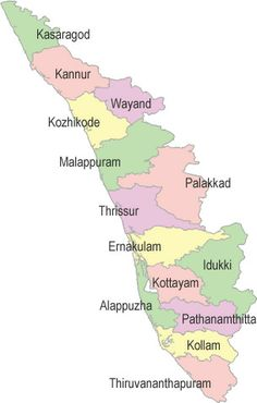 Kerala at a glance - Know Kerala and Kerala fact file India World Map, India Map, Kerala India, Planet Earth Facts, Map Sketch, Sketches, Flood Map, Geography Map, Map Outline