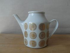 RESERVED Porsgrund Norway coffeepot gold floral by danishmood Very Lovely, Cup And Saucer, Norway, Vases, Tea Pots, Delicate, Mid Century, Pottery, Abstract