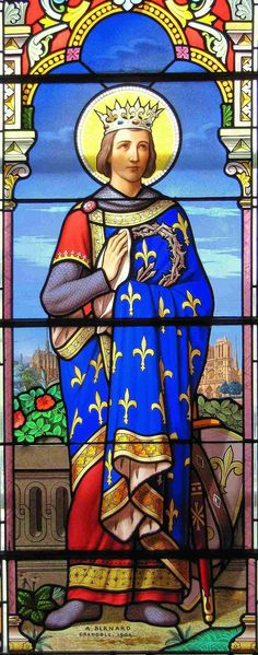 Louis IX (1214-1270), commonly known as Saint Louis, is the only canonized king of France and is portrayed in this stained glass window wearing a robe adorned with the fleur-de-lis symbol.