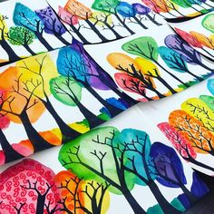 Remember these bare branches? Rainbow tops, texture swirls, and ground added! New project inspired by trees on artist Kristen Bailey's…
