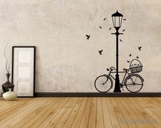 Street Lamp And Bicycle Wall Decal Bike Wall by EasyWallArt