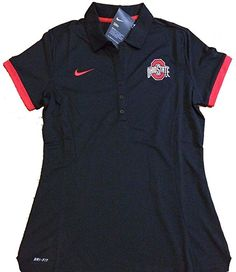 b8a35235ecf Nike Ohio State Buckeyes 2017 Women's Medium Polo Shirt Black Red DRI-FIT  at Amazon Women's Clothing store: