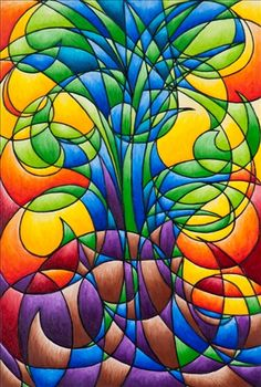 """"""" Stained Glass Free Spirit"""" ~  Marty Maehr, I think stain glass pattern lend themselves to quilting patterns, easily."""