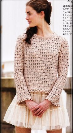 crochelinhasagulhas: Blusa manga longa de crochê