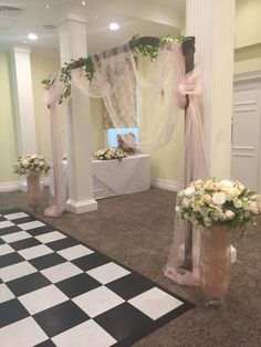 Get married under this romantic arch, handmade by us  and decorated with gentle voile material and choice of mini-garlands