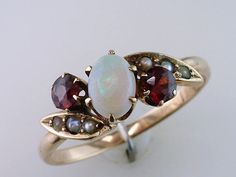 Antique Victorian 1ct Garnet Opal Pearl 14K Yellow Gold Cocktail Ring