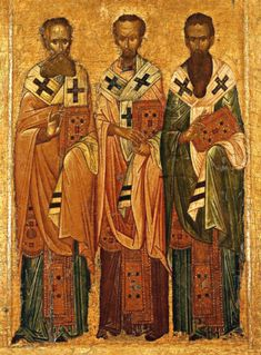 The Three Holy Hierarchs (Ancient Greek: Οἱ Τρεῖς Ἱεράρχαι) of Eastern Christianity: Basil the Great (also known as Basil of Caesarea), Gregory the Theologian (also known as Gregory of Nazianzus) and John Chrysostom. Religious Images, Religious Icons, Religious Art, Byzantine Icons, Byzantine Art, Early Christian, Christian Art, John Chrysostom, Religion Catolica