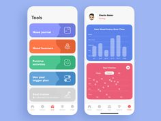 Mental Health App designed by Igor Savelev for isavelev. Connect with them on Dribbble; the global community for designers and creative professionals. Ios App Design, Mobile App Design, Android App Design, Iphone App Design, Android Apps, Health App, Mental Health, Dashboard App, Ecommerce App