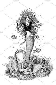Rocking Mermaid by Eugenia Hauss Design on @creativemarket