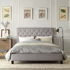 109 best Upholstered Headboards images on Pinterest   Bedrooms  Diy     Love the idea of doing some wall panelling in a bedroom